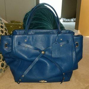Coach turnlock tie tote satchel denim blue